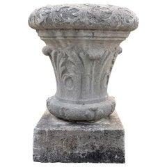Heavily-Carved 18th C Belgian Bluestone Table Base