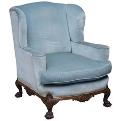 Heavily Carved Lion Hairy Paw Feet Victorian Armchair Sky Blue Velvet George II