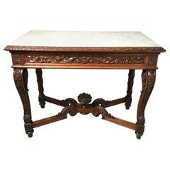 Heavily Carved Mahogany One-Drawer Marble-Top Console Table, circa 1900