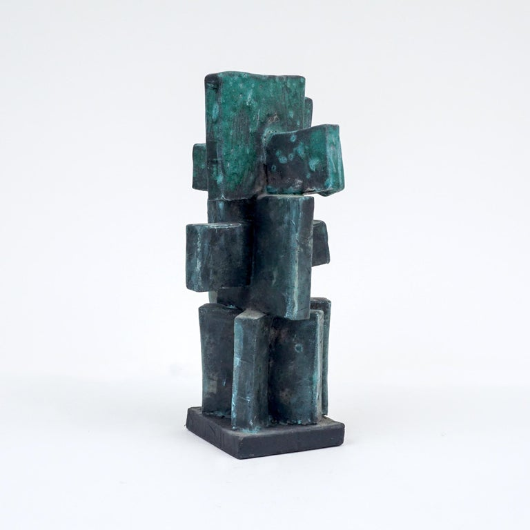 Modern Heavily Glazed Large Ceramic Sculpture in Weathered Bronze by Judy Engel For Sale