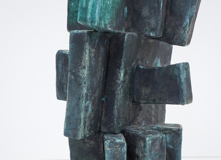 Heavily Glazed Large Ceramic Sculpture in Weathered Bronze by Judy Engel In New Condition For Sale In Hudson, NY