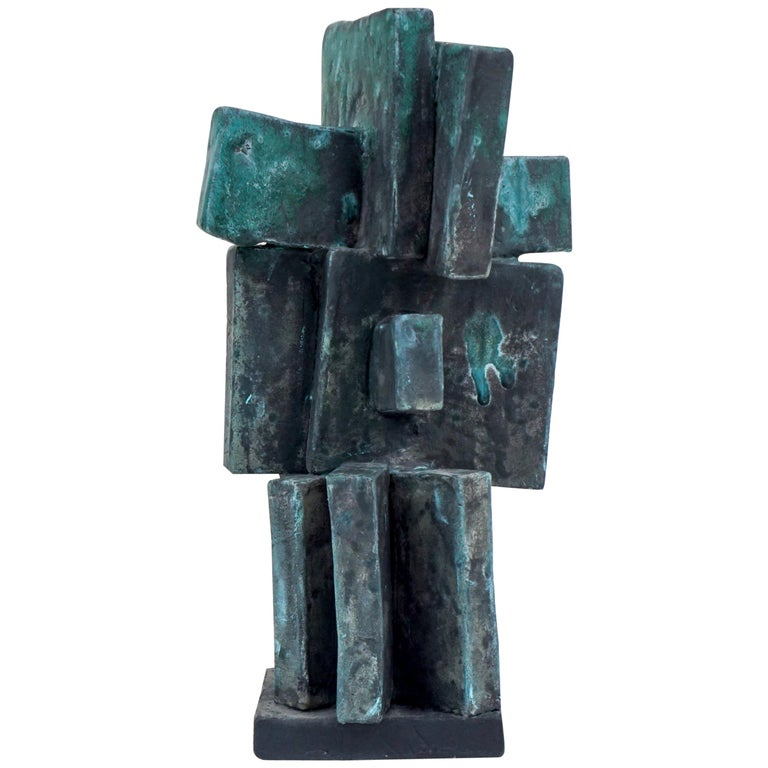 Heavily Glazed Large Ceramic Sculpture in Weathered Bronze by Judy Engel For Sale