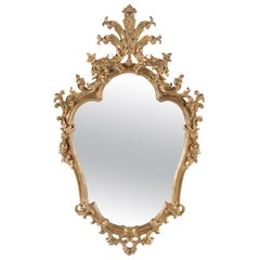 Heavily Hand Carved Pear Shaped Mirror