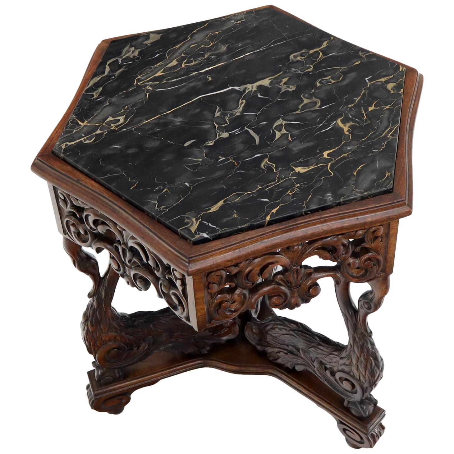 Heavily Pierce Carved Walnut Hexagon Marble Top Swann Bird Motive Stand Pedestal