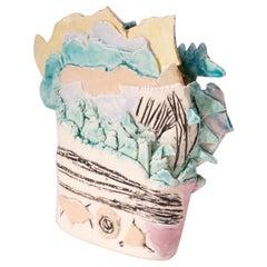 Heavily Textured Postmodern Studio Ceramic Vase Signed