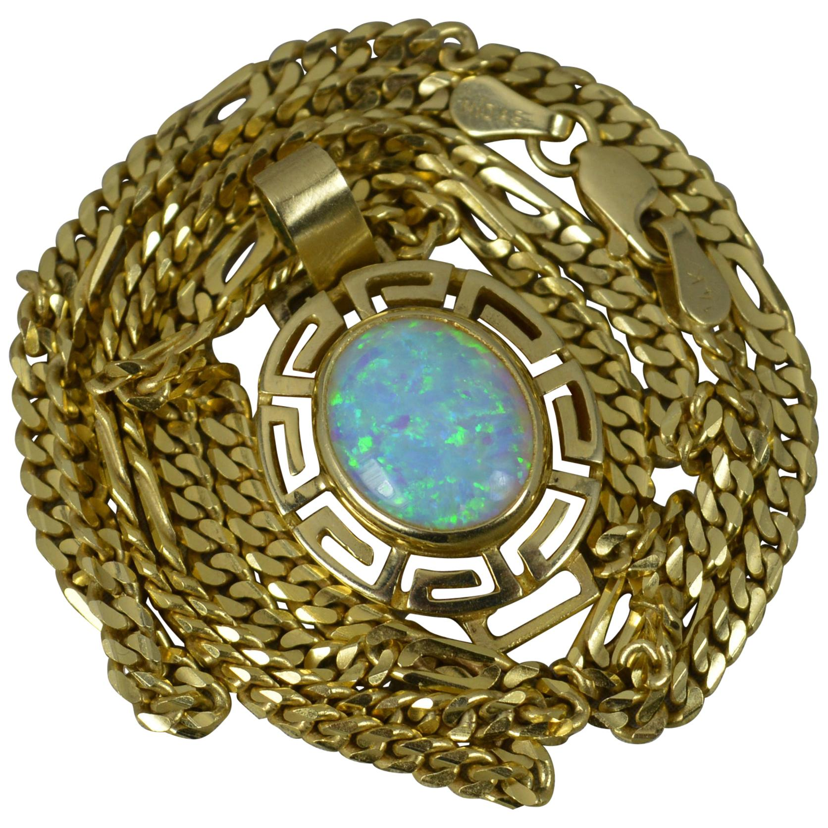 Heavy 14 Carat Yellow Gold and Opal Pendant and Chain