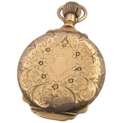Heavy 14 Karat Gold Full Engraved Full Hunter Case Elgin Antique Pocket Watch