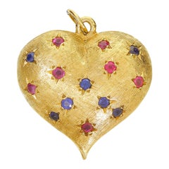 Heavy 14 Karat Gold Love Heart Pendant or Large Charm Red Ruby and Sapphire