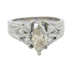 Heavy 14k WG 2.40ct Diamond Engagement Wedding Ring W/ 1.50ct Center