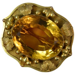 Heavy 18 Carat Gold and Citrine Statement Brooch, circa 1860