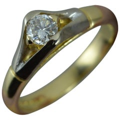 Heavy 18 Carat Gold VVS 0.33 Carat Diamond Solitaire Engagement Ring