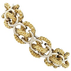 Heavy 18 Karat Yellow and White Gold Wide 3D Infinity Knot Chain Bracelet