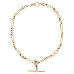 "Heavy 18 Karat GoldEdwardian Trombone LinkAlbert Watch Chain, 16"" circa 1905"
