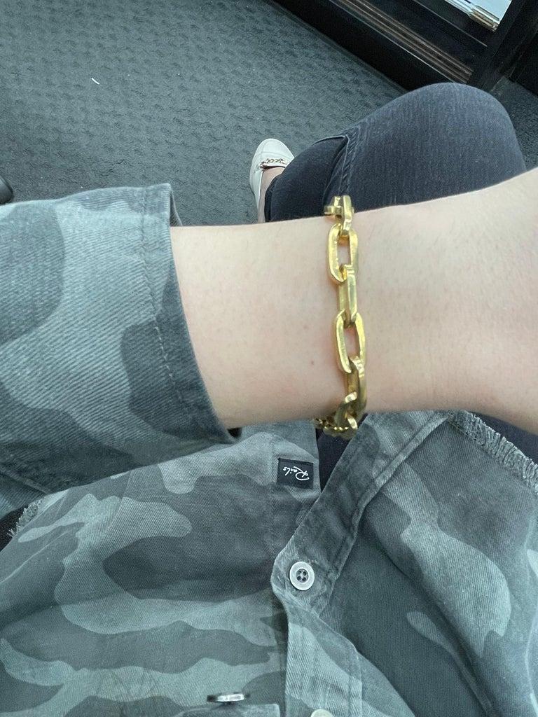Heavy 18 Karat Yellow Gold Paperlink Bracelet 37.2 Grams For Sale 5