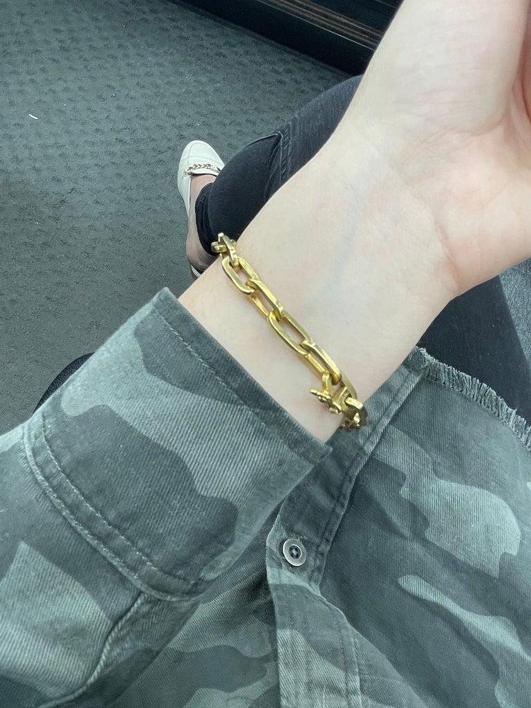 Heavy 18 Karat Yellow Gold Paperlink Bracelet 37.2 Grams For Sale 6