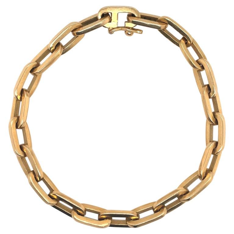 Heavy 18 Karat Yellow Gold Paperlink Bracelet 37.2 Grams For Sale