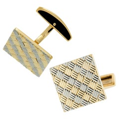 Heavy 18 Karat Yellow and White Gold Woven Style Handmade Cufflinks by Schubot