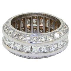 Heavy 18K White Gold 5.88CT VS Diamond Cluster Thick Eternity Band Ring