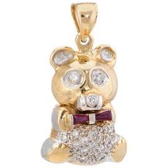 Heavy 30.7gm Teddy Bear Pendant Diamond Ruby Vintage 14 Karat Gold Charm Jewelry