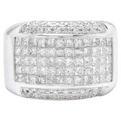 Heavy 5.00 Carat Natural Diamond 14 Karat Solid White Gold Men's Ring