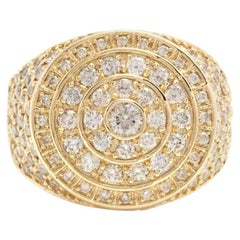 Heavy 5.00 Carat Natural Diamond 14 Karat Solid Yellow Gold Men's Ring