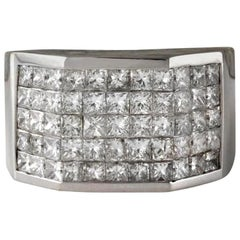 Heavy 5.65 Carat Natural Diamond 14 Karat Solid White Gold Men's Ring
