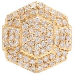 Heavy 5.80 Carat Natural Diamond 14 Karat Solid Yellow Gold Men's Ring