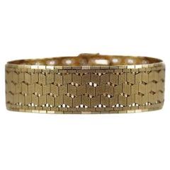 Heavy 9 Karat Yellow Gold Articulated Geometric Textured Woven Link Bracelet