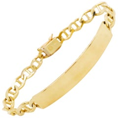 Engravable ID Bracelet in 14 kt Gold with Anchor Link Chain for Men or LG Woman