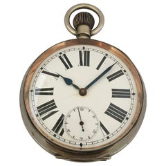 """Heavy and Big Antique Silver Plated """"Goliath"""" 8Day Pocket Watch"""