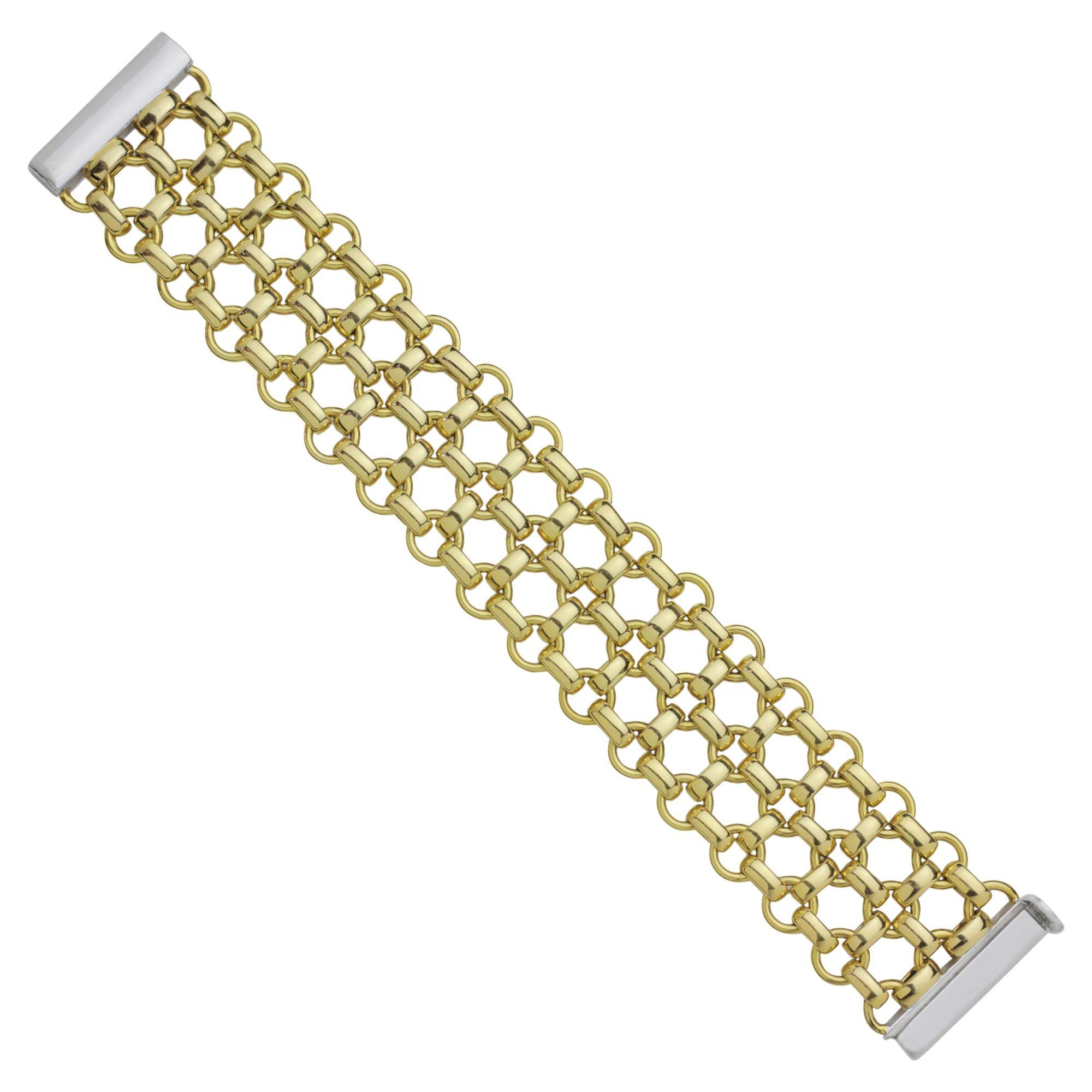 Heavy and Bold 18 Karat Gold Fancy Link Bracelet