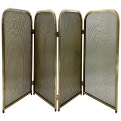 Solid Brass Fireplace Screen, 1960s