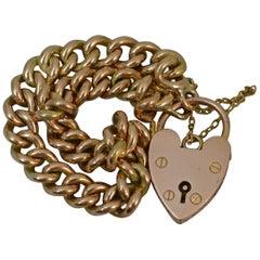 Heavy Antique Curb Link 9 Carat Rose Gold Long Bracelet