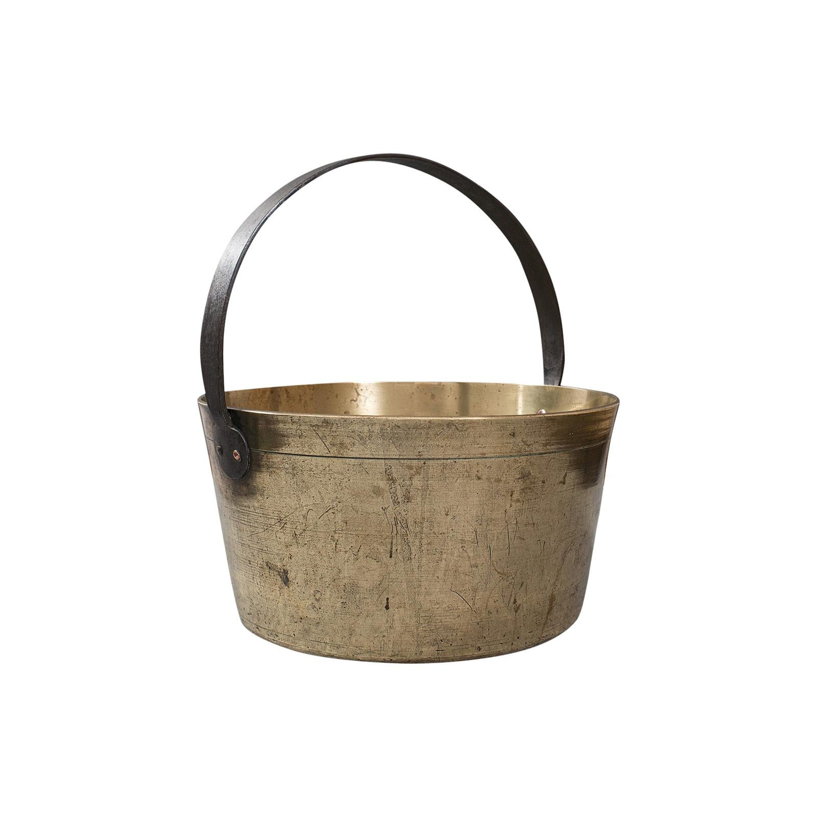 Heavy Antique Jam Pan, English, Brass, Preserve, Cooking Pot, Georgian, C.1800