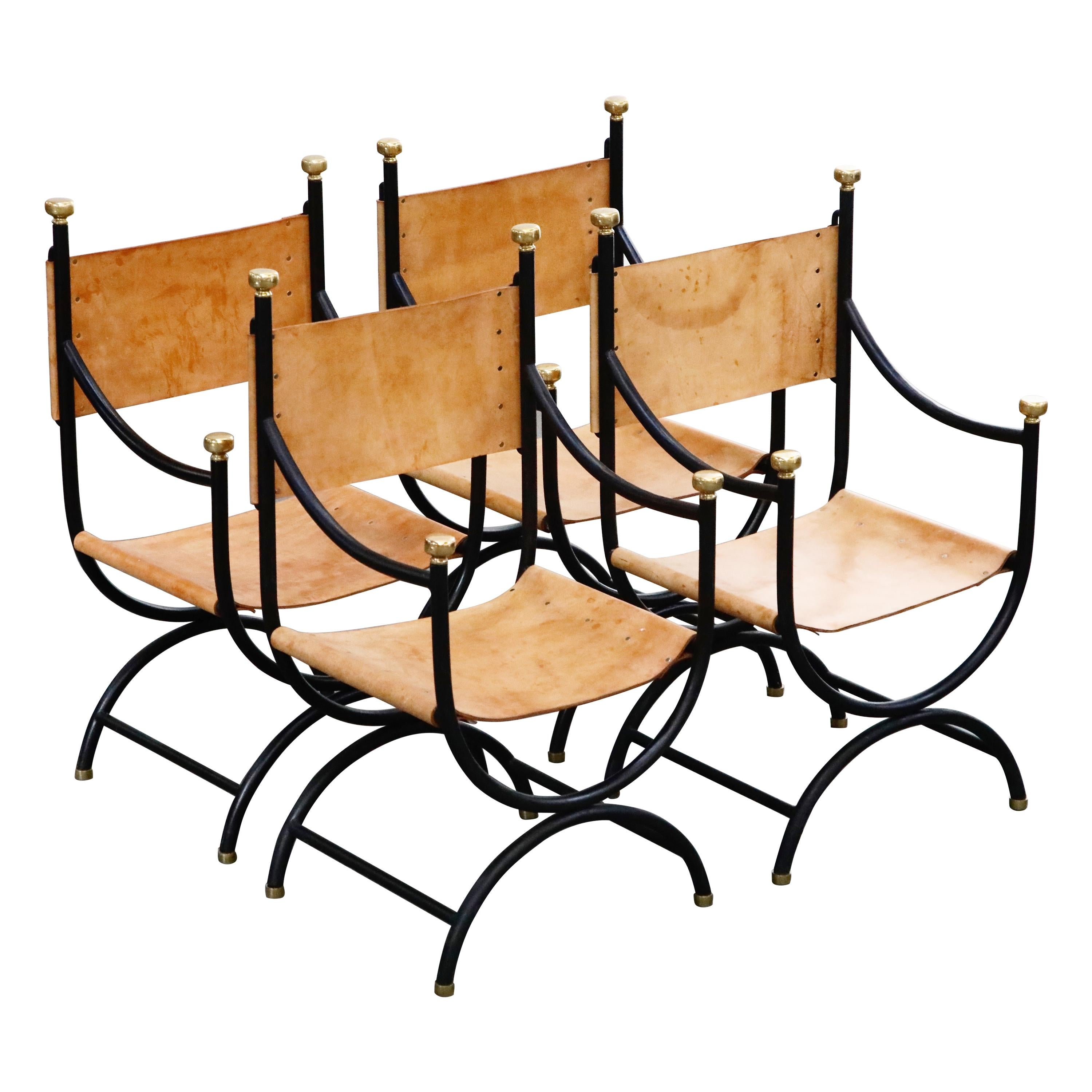 Heavy Brass, Iron and Thick Leather Savonarola Directors Chairs, Set of Four