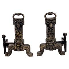 Heavy Bronze Antique Andirons