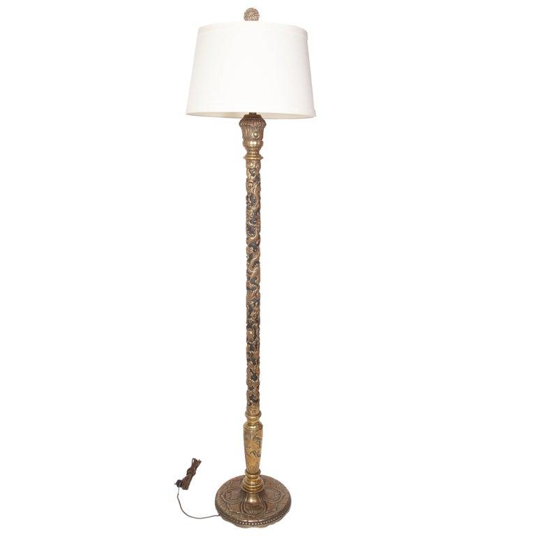 Heavy Bronze Handmade Asian Floor Lamp, circa 1920s For Sale