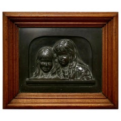 """Heavy Bronze Relief Wall Plaque, """"Sisters"""" by E T Wainwright 1898"""