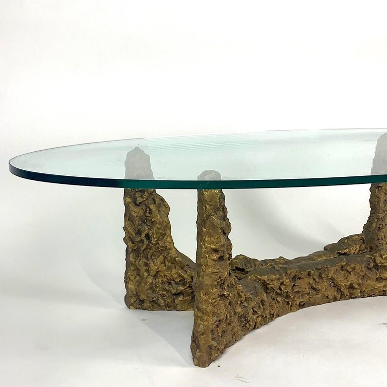 American Heavy Cast Bronze Sculptural Metal Brutalist Coffee Table, Manner of Paul Evans For Sale