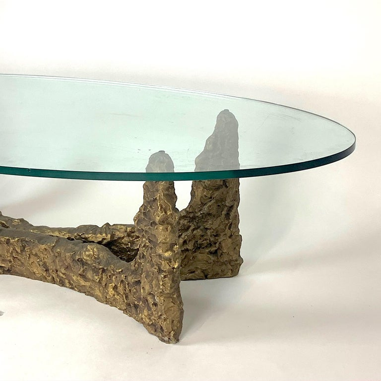Heavy Cast Bronze Sculptural Metal Brutalist Coffee Table, Manner of Paul Evans In Good Condition For Sale In Hudson, NY