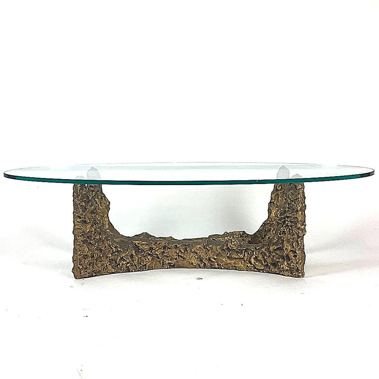 Heavy Cast Bronze Sculptural Metal Brutalist Coffee Table, Manner of Paul Evans For Sale 2
