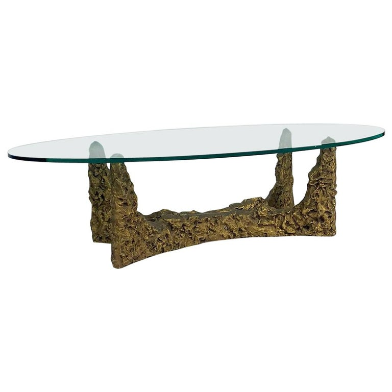 Heavy Cast Bronze Sculptural Metal Brutalist Coffee Table, Manner of Paul Evans For Sale