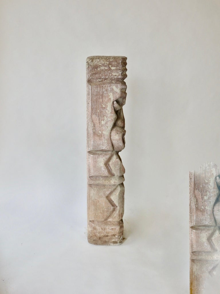 American Heavy cast cement Tiki totem sculpture For Sale