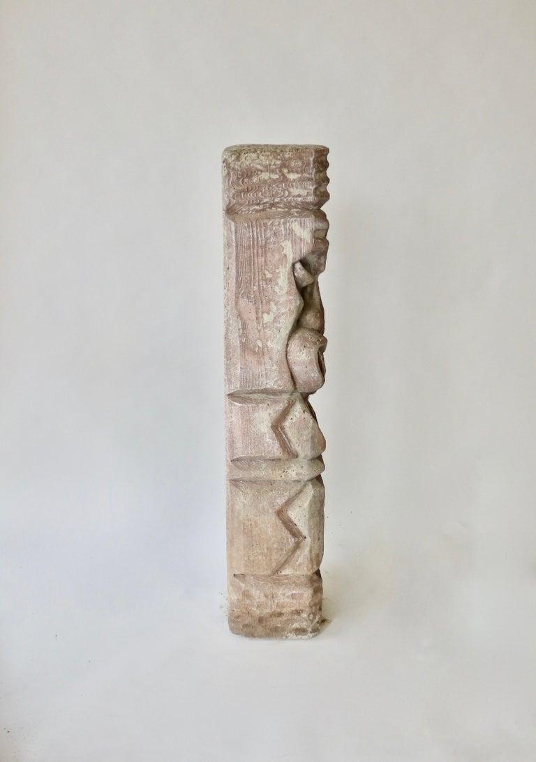 Cast Heavy cast cement Tiki totem sculpture For Sale