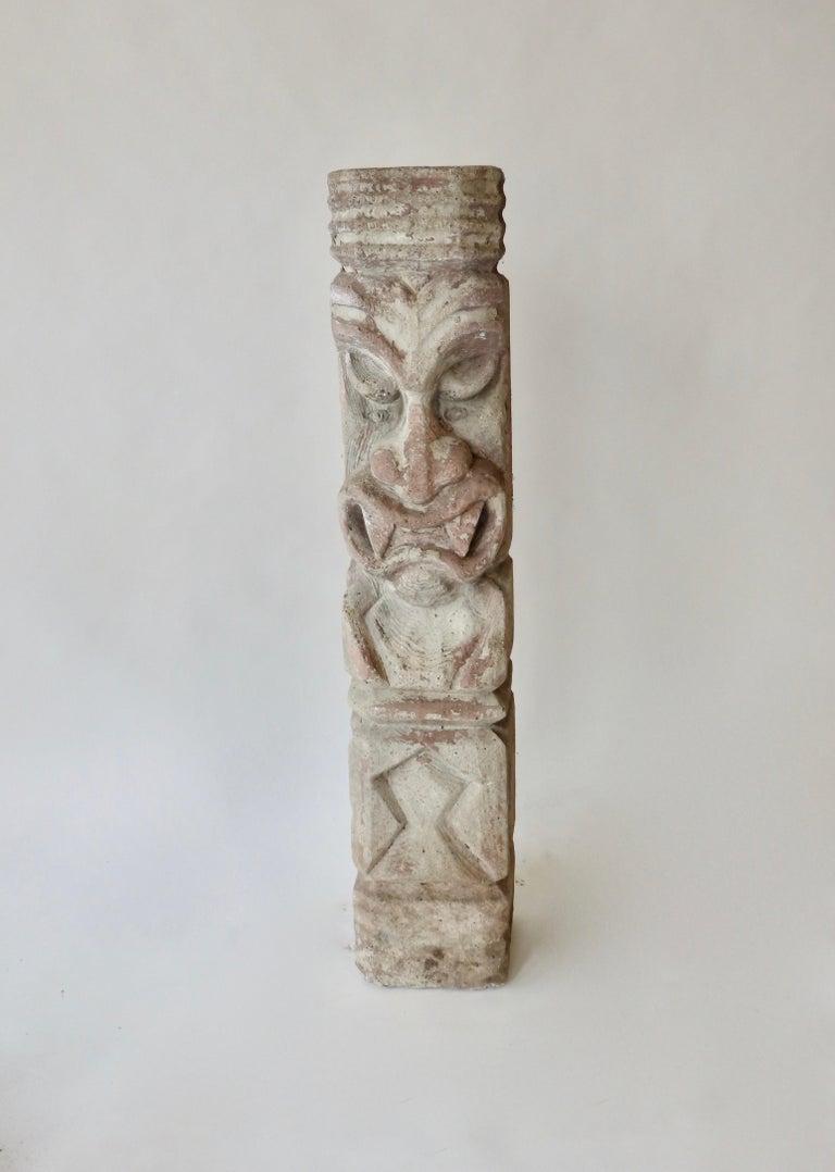 20th Century Heavy cast cement Tiki totem sculpture For Sale
