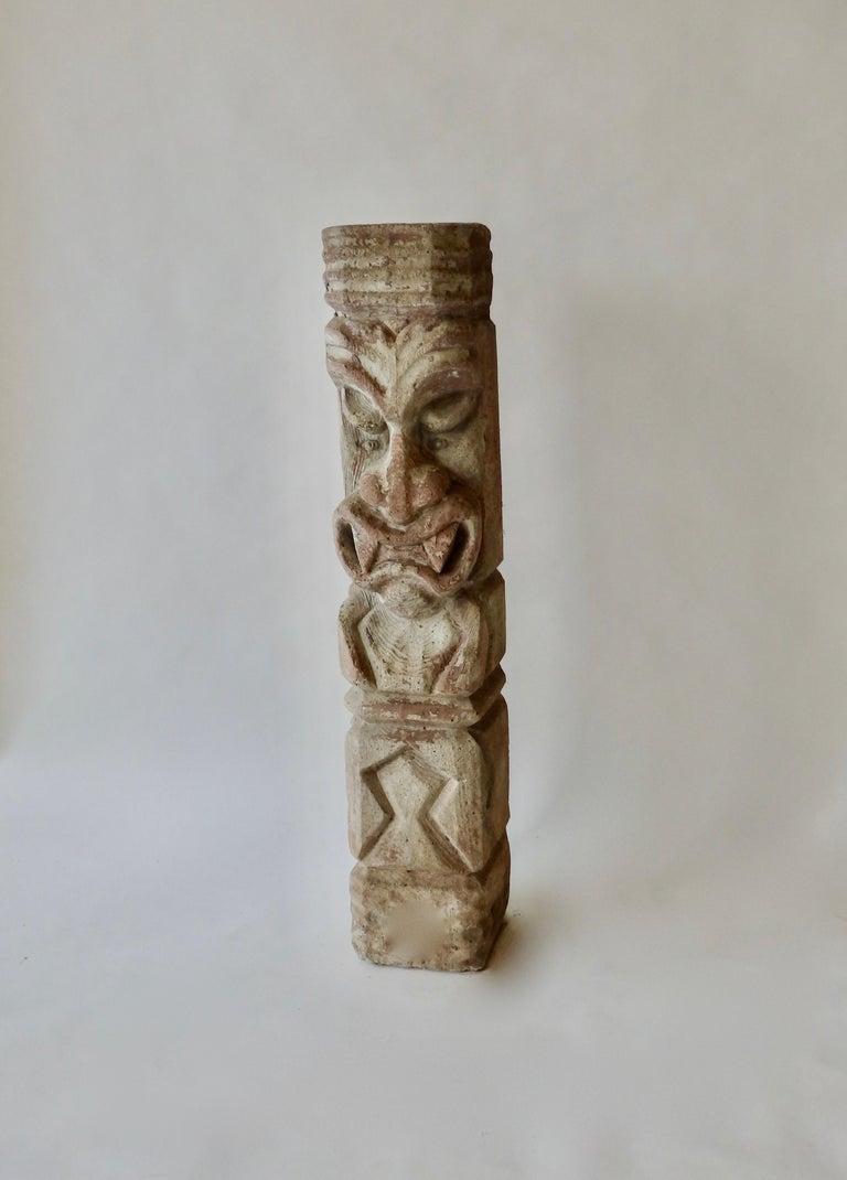 Cement Heavy cast cement Tiki totem sculpture For Sale