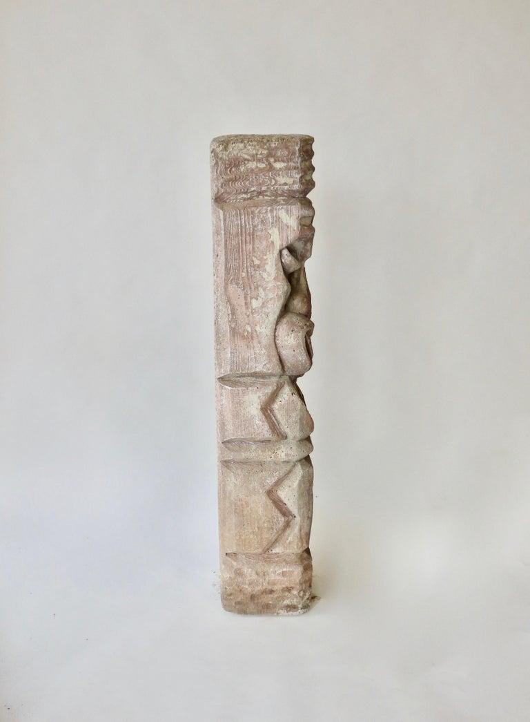 Heavy cast cement Tiki totem sculpture For Sale 1