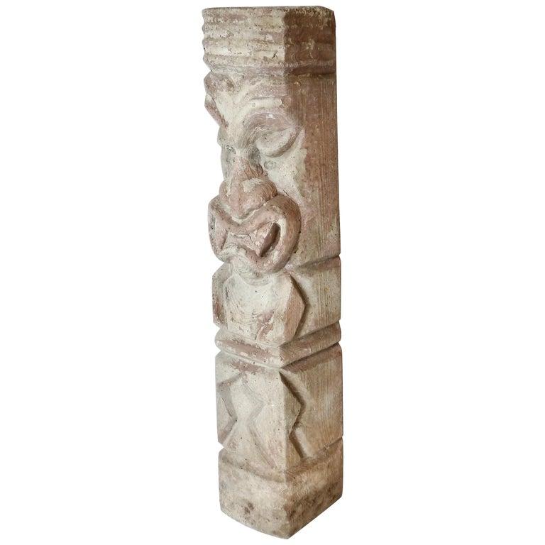 Heavy cast cement Tiki totem sculpture For Sale