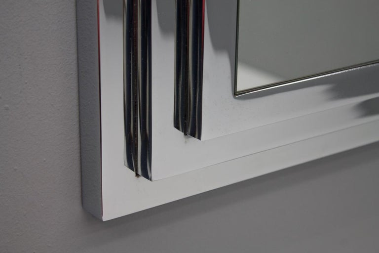 Heavy Chrome Wall Mirror in Chrome France 1974 For Sale 4
