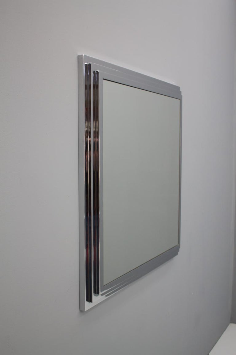 Hollywood Regency Heavy Chrome Wall Mirror in Chrome France 1974 For Sale